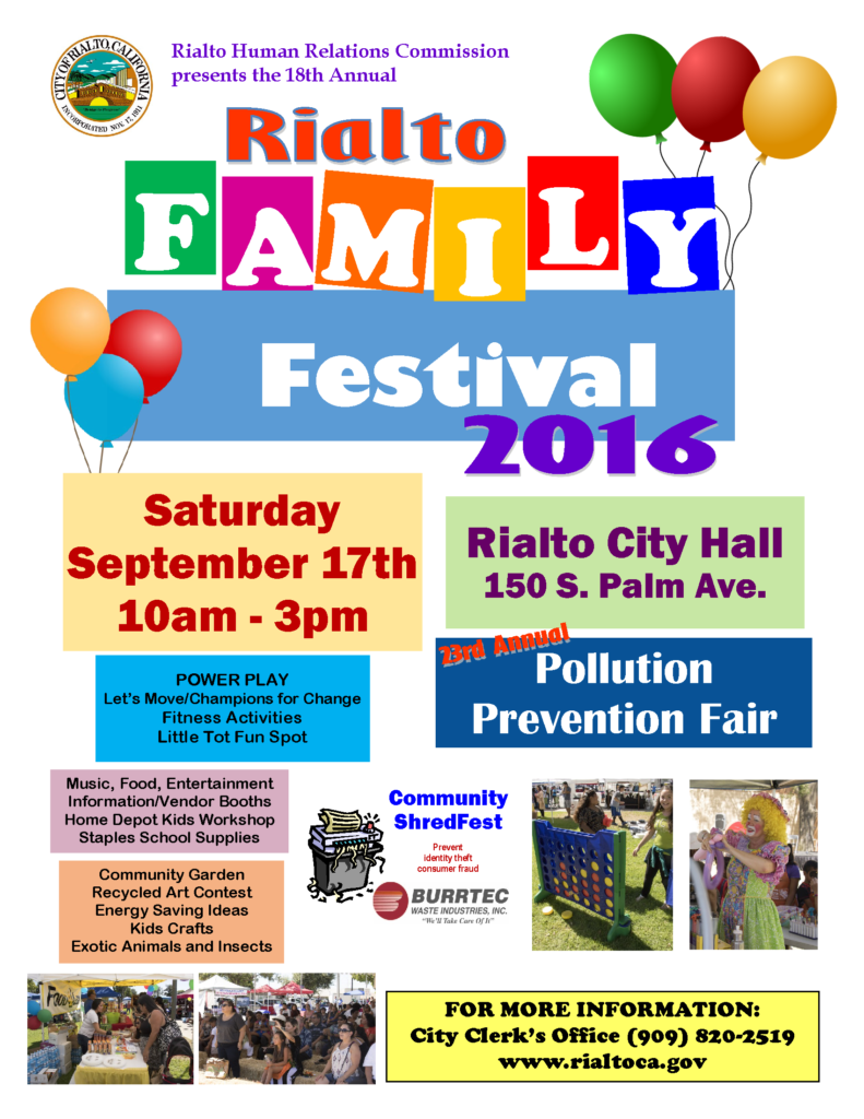 Family Festival Pollution Prevention Fair Flyer on Water Conservation Tips Rebates
